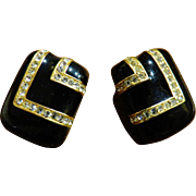 Ciner Black and Gold Rhinestone Earrings