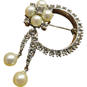 Lovely Sterling Brooch with Real Pearls and Dangles