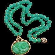 Peking Glass Necklace Ornate Setting