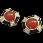 Stunning Gem-Craft Enamel Carnelian Glass Earrings