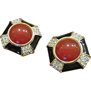 Stunning Gem-Craft Enamel Carnelian Glass Earrings