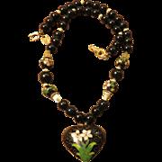 Les Bernard Cloisonné Heart Necklace