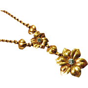 Lovely HSB Floral Gold Filled with Blue Necklace