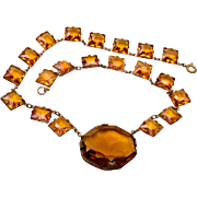 Czechoslovakia Topaz Bezel Set Chiclets Necklace Art Deco