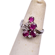 14kt White Gold Ruby and Diamond Ring Size