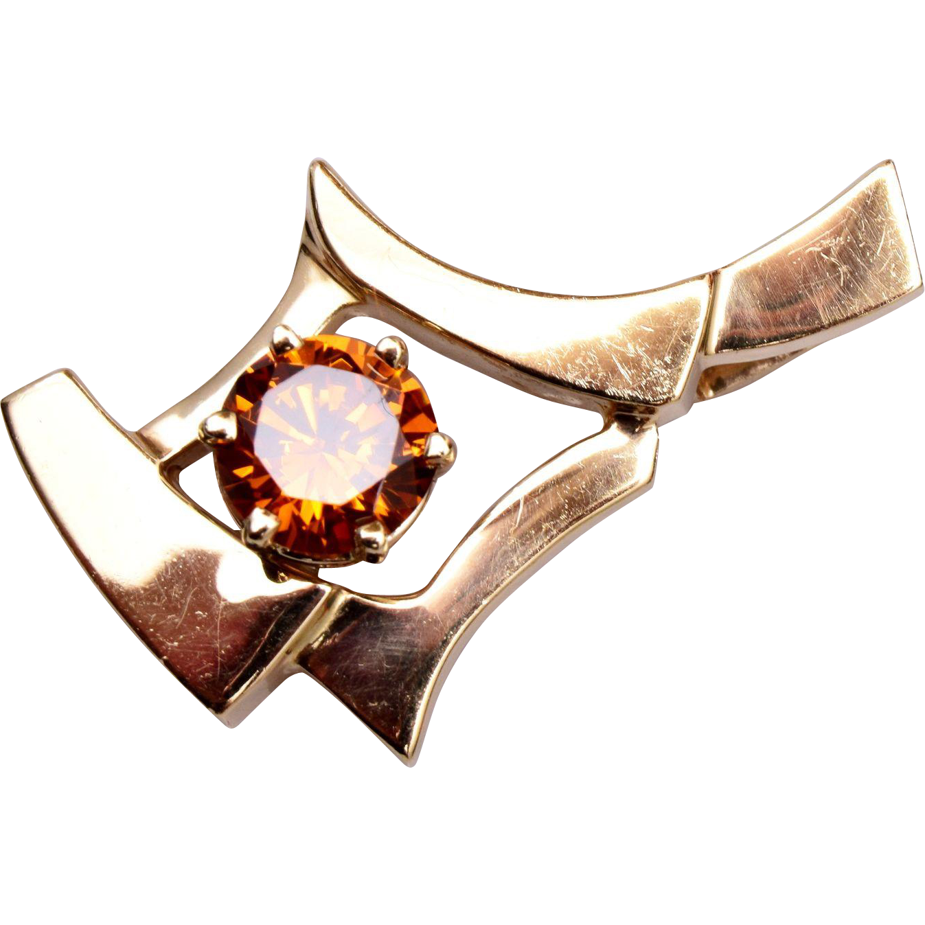 14kt Gold Oriental Setting Padparadscha Sapphire Pendant