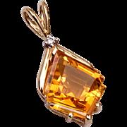 14kt Gold Diamond and Topaz Pendant