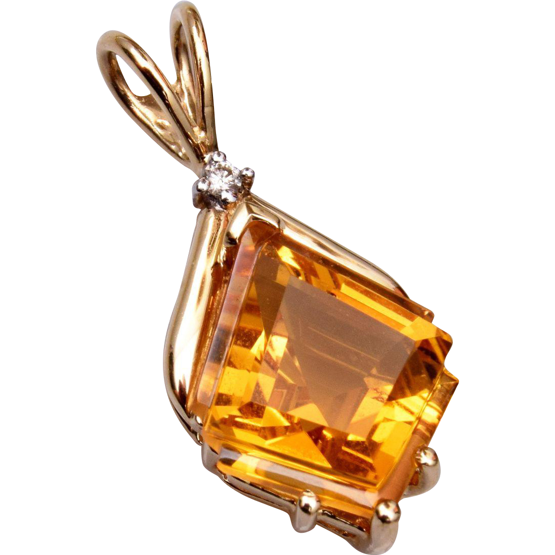 14kt Gold Diamond and Topaz Pendant