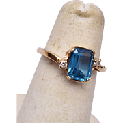 14kt Gold and Aqua Marine Ring Size 4-1/2