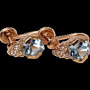 14kt Gold and Aqua Marine with Diamonds - Earrings