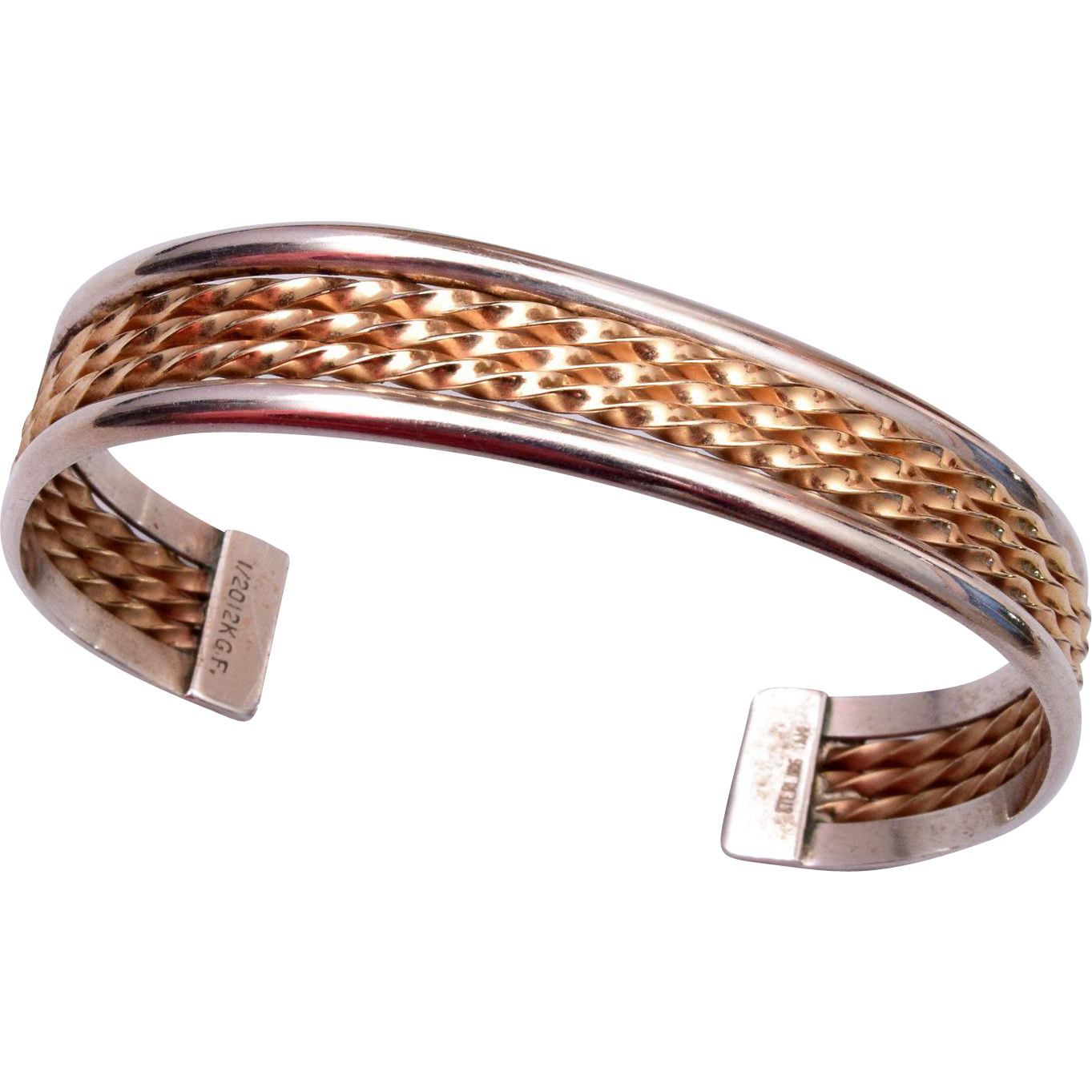 Gold Filled and Sterling Cuff Bracelet