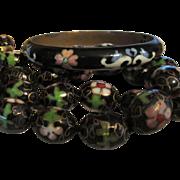 Black Cloisonné Necklace and Bracelet Set