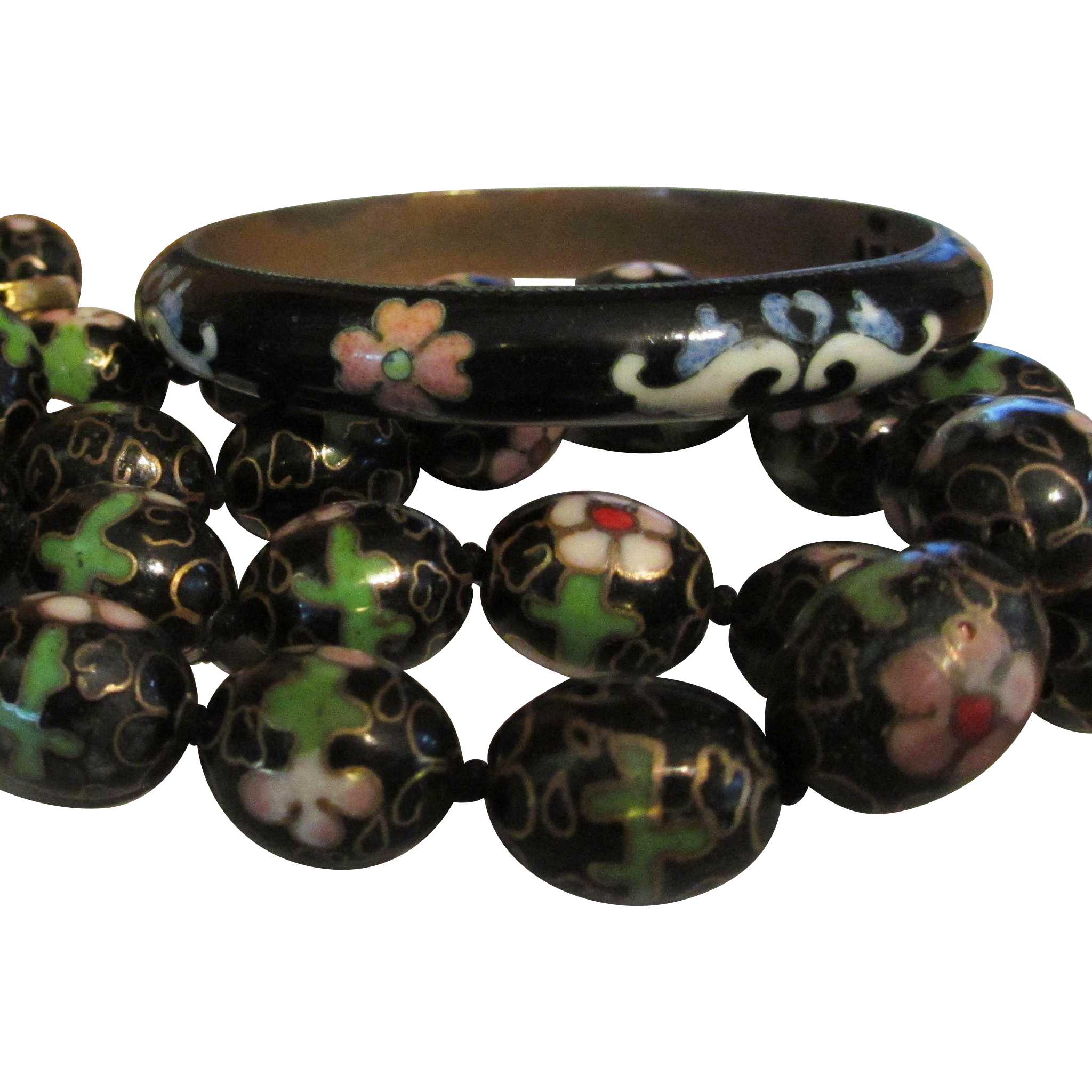 Black Cloisonné Necklace and Bracelet Set