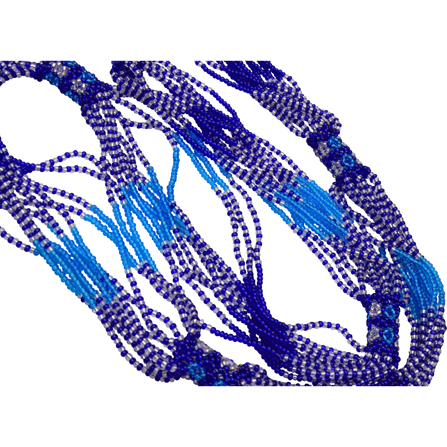 Blue Multi Strand Glass Beaded and Weaved Necklace