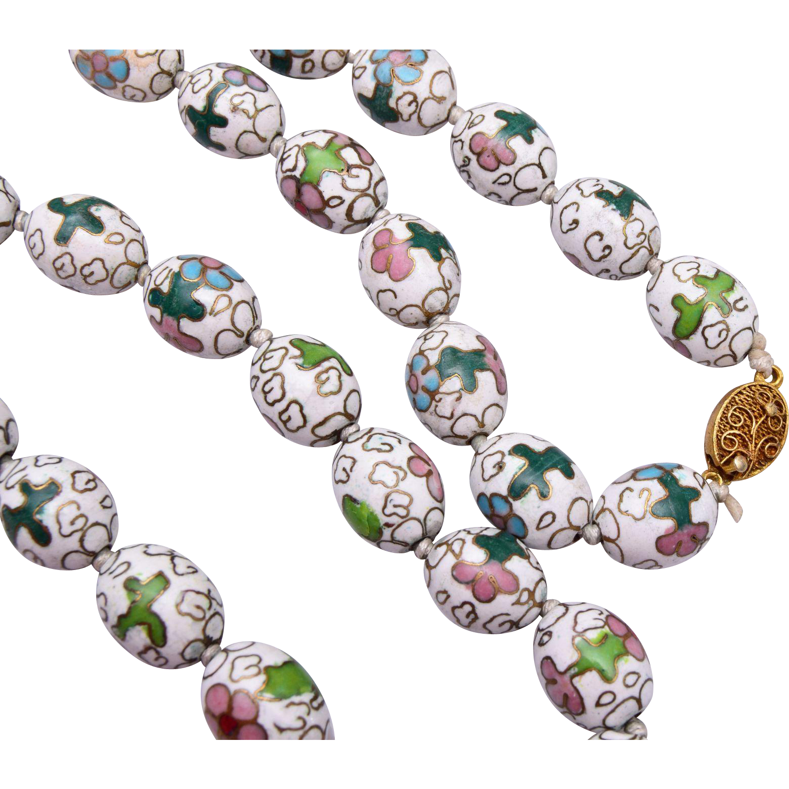 White Cloisonné Necklace Tied In Between