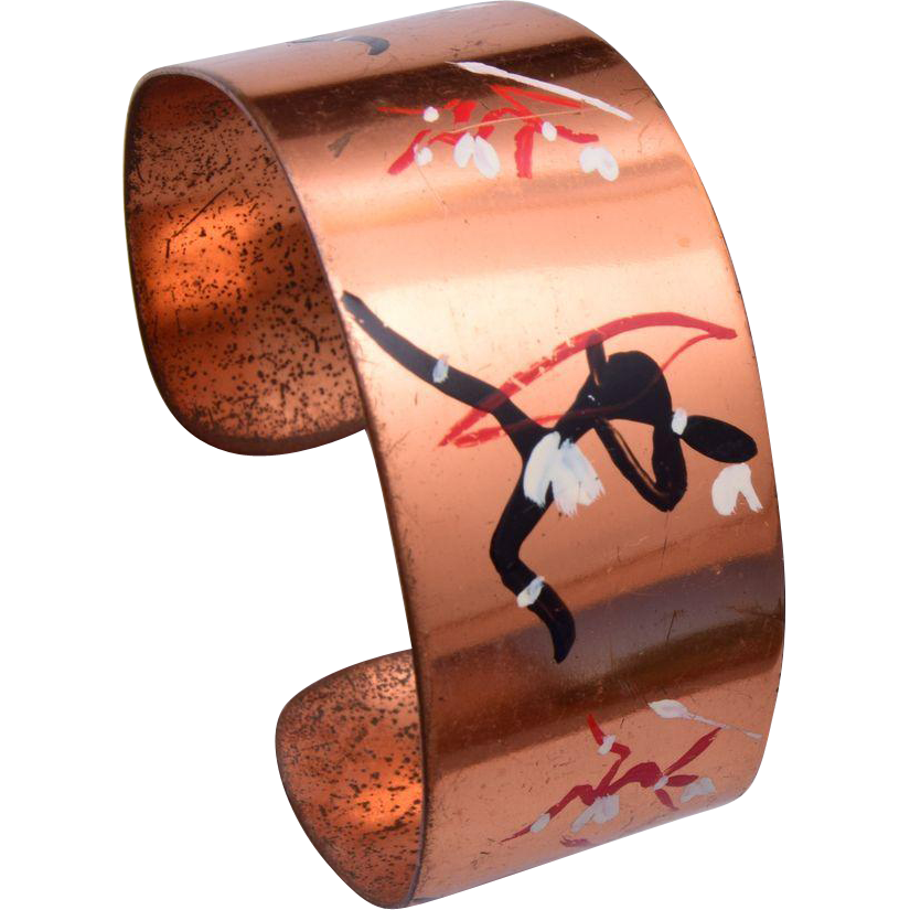 Copper Cuff Bracelet With African Tribesman