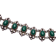 Sterling Mexico and Green Stone Bracelet