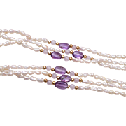 14kt Gold, Amethyst and Fresh Water Pearl Necklace