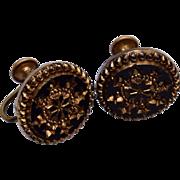 Black Molded Glass Earrings