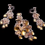 Soljes Sterling Brooch and Earring Set