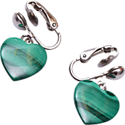 Green Malachite Heart Earrings