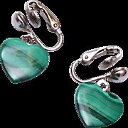 Green Malachite Heart Earrings