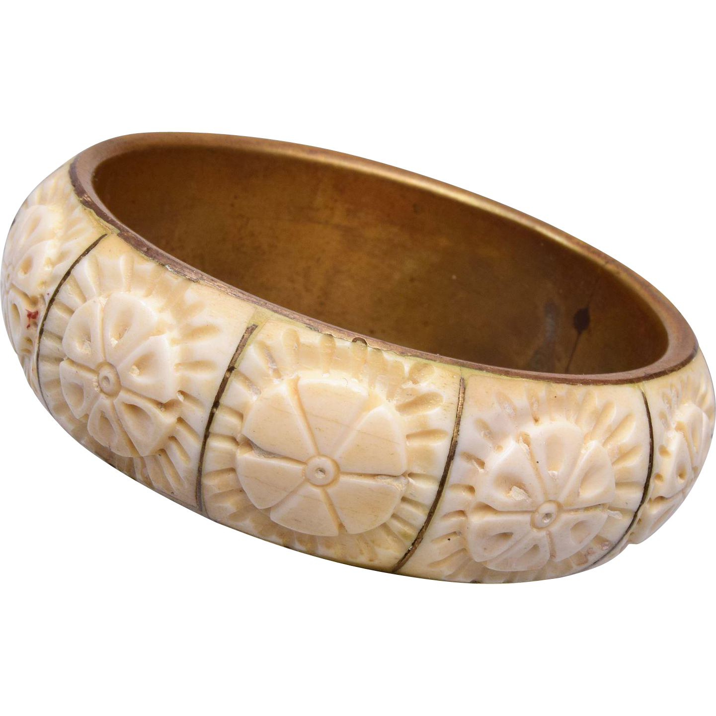 Carved Bone Bangle Bracelet