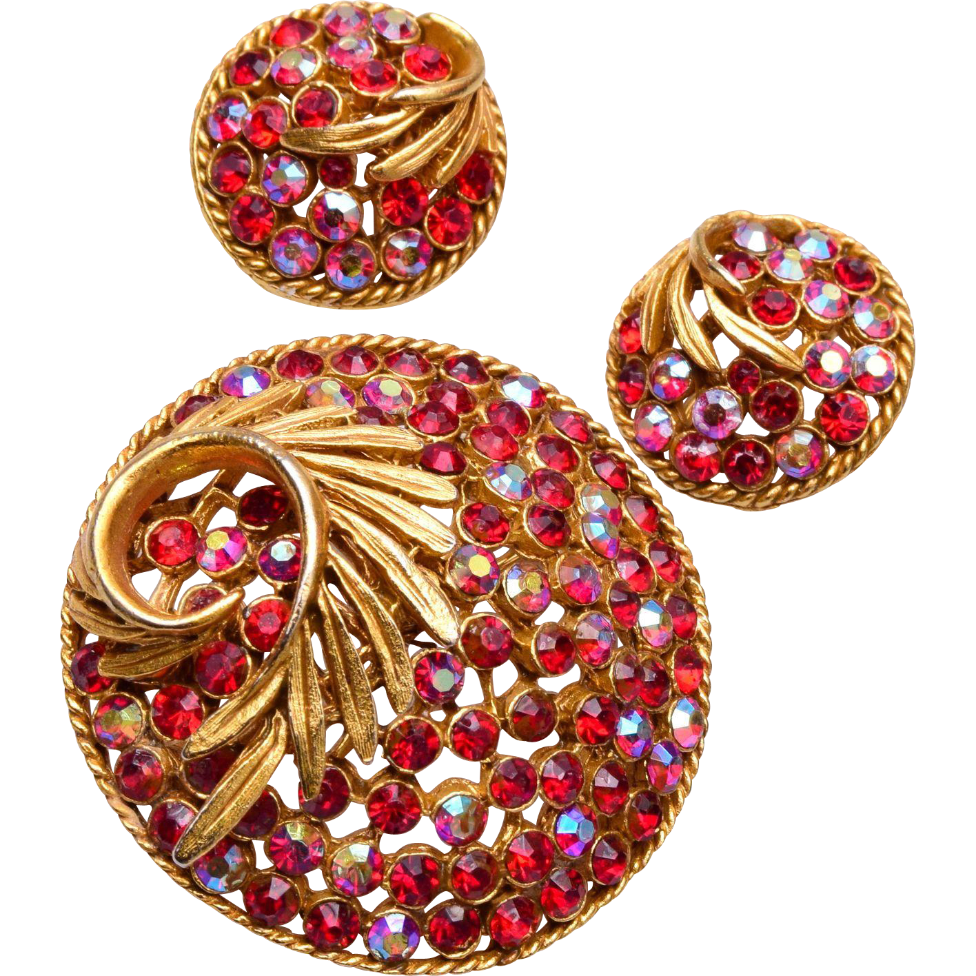 BSK Red Rhinestone Brooch and Earring Set