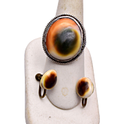 Sterling Operculum Ring and Earring Set