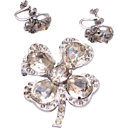 1940's Eisenberg 4 Leaf Clover Brooch and Earring Set
