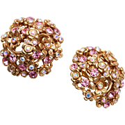 Oscar De La Renta Pink Rhinestone Earrings