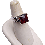 Brighton Sterling Ring with Red Stone Size 7