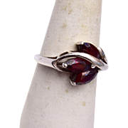 Sterling and Garnet Ring Size 8-1/2