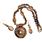 Tigers Eye Necklace and Pierced Earring Set