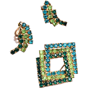 3 Shade of Green Brooch and Earring Set