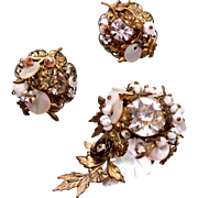 Milk Glass, Mother of Pearl and Rhinestone Set