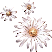 Enameled Silver and Gold Flower Brooch and Earring Set