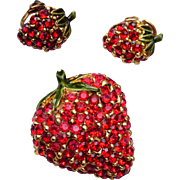 Ciner Strawberry Brooch and Earring Set