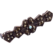 Sterling, Marcasite and Turquoise Brooch