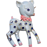 Sweet Blue Enameled Pot Metal Bambi Brooch