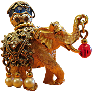 Napier Elephant Figural Brooch Book Piece