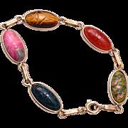 Natural Stone Gold Filled Scarab Bracelet