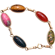 Natural Stone Gold Filled Scarab Bracelet