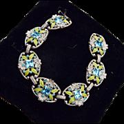 Beautiful Pot Metal, Enamel and Aqua Rhinestone Bracelet