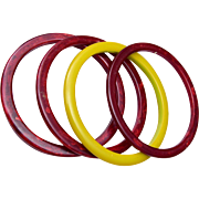 4 Maroon and Light Green Bakelite Bangle Bracelets