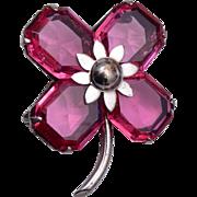 Sterling Pink 4 Leaf Clover Brooch