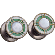 Kum Apart Mother of Pearl and Enameled Cufflinks