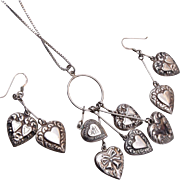 Sterling Puffy Heart Necklace and Pierced Earring Set