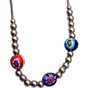Millefiori and Sterling Beaded Necklace