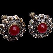 Czechoslovakia Carnelian Earrings